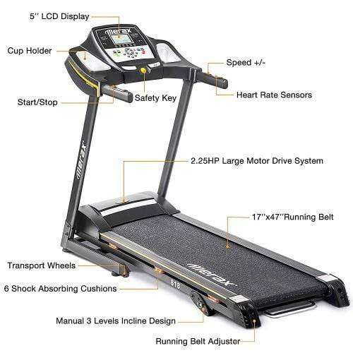 Merax 818 Folding Electric Treadmill Motorized Power Running Machine Fitness New