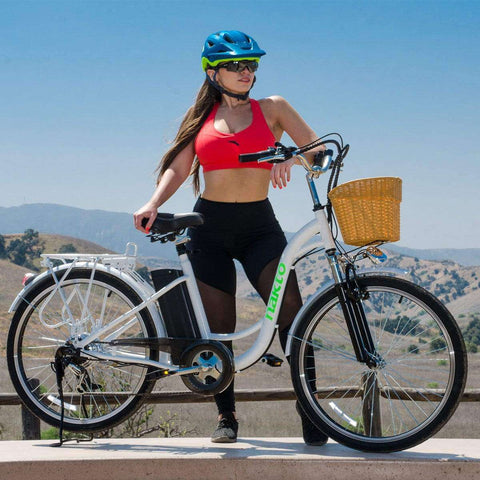 NAKTO 26 inch 250W Camel Electric Bicycle 6 Speed E-Bike 36V Lithium Battery Female/Young Adult White New