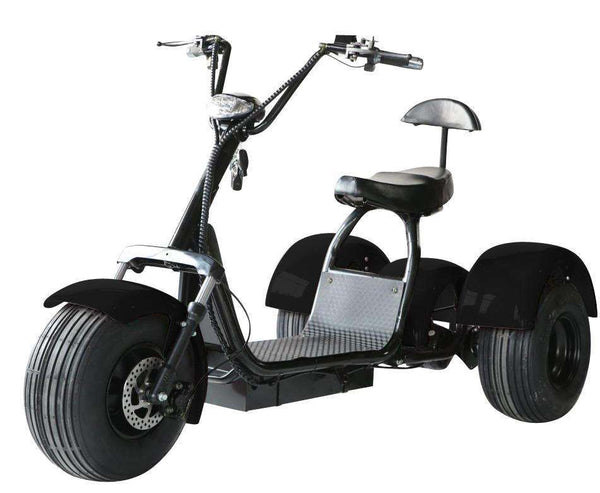 eDrift UH-ES395 Fat Tires 3-wheel Electric Chopper Trike Scooter Moped with Shocks Harley E-Bike New