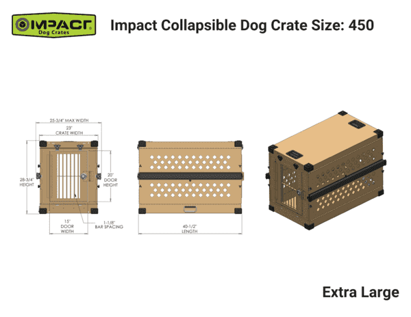 Grain Valley GVFoldCrate-XL 48x25x28 Impact Collapsible Durable Aluminum Dog Crate Extra Large New