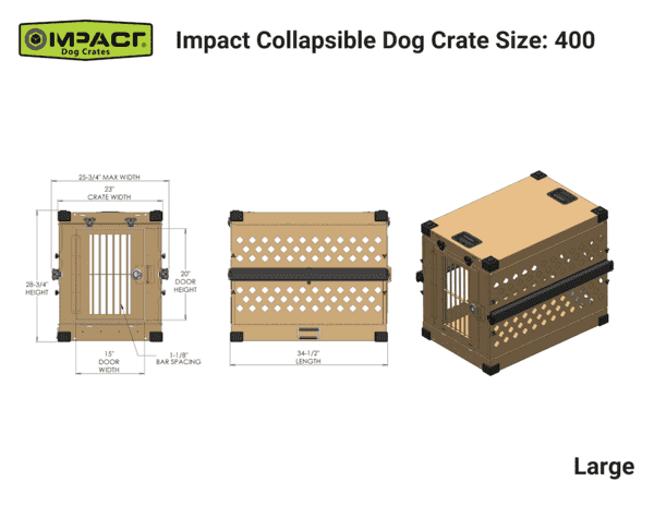 Grain Valley GVFoldCrate-L 34x25x28 Impact Collapsible Durable Aluminum Dog Crate Large New