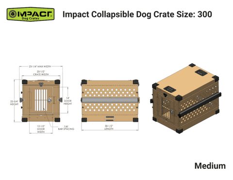Grain Valley GVFoldCrate-M 30x19x22 Impact Collapsible Durable Aluminum Dog Crate Medium New