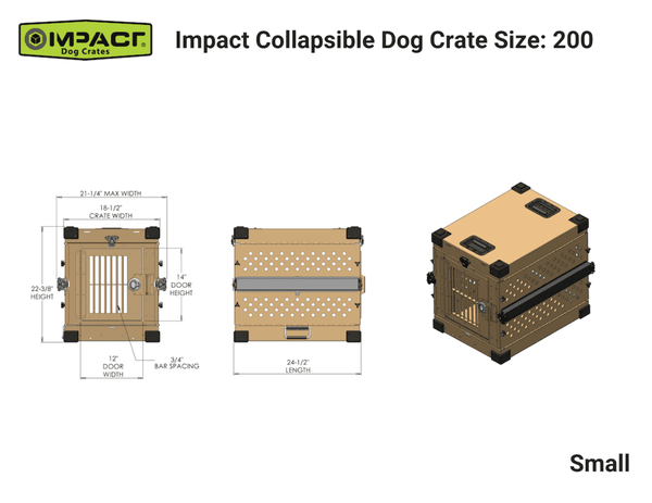 Grain Valley GVFoldCrate-S 24x21x22 Impact Collapsible Durable Aluminum Dog Crate Small New