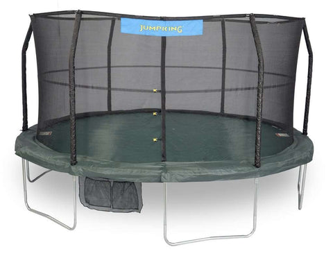 Bazoongi Jumpking JK1566C2 15 FT 6 LEGS 6 Poles 96 Springs Green/Black Trampoline with Enclosure New