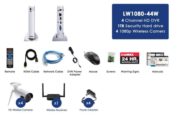 Lorex LW1080-44W 4 Camera 4 Channel HD 1080p DVR Indoor/Outdoor Surveillance Security System New