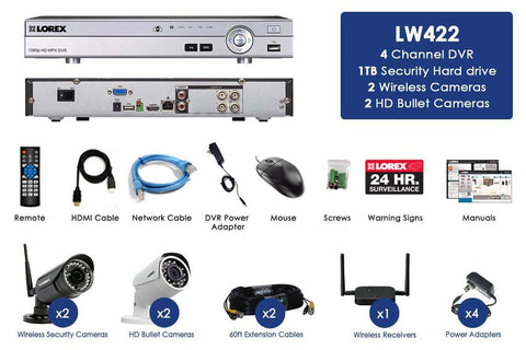 Lorex LW422W HD 4 Camera 4 Channel DVR Indoor/Outdoor Surveillance Security System New
