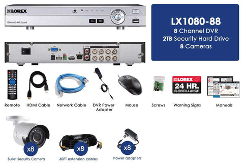 Lorex LX1080-88BW HD 1080p Indoor/Outdoor 8 Camera 8 Channel DVR Surveillance Security System New