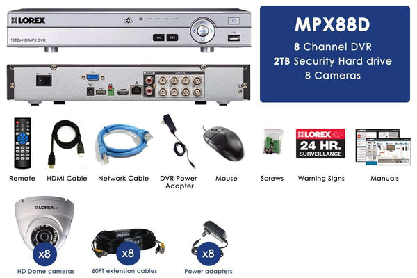 Lorex MPX88DW HD 1080P 8 Camera 8 Channel DVR Surveillance Security System New