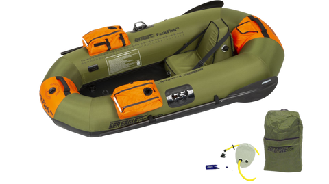 Sea Eagle PackFish 7 Inflatable Boat Deluxe Fishing Package Green Orange New