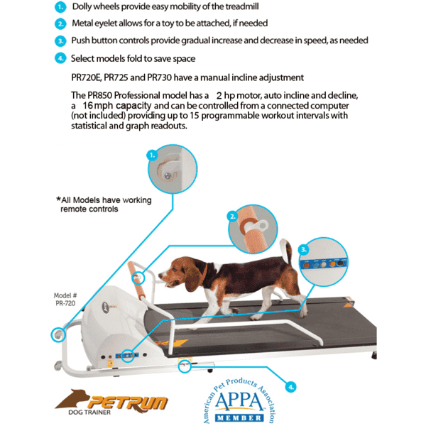 GoPet PR720F PetRun up to 132 pounds Small Medium Dog Treadmill New