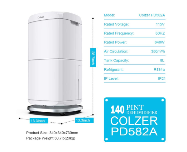 Colzer Colzer-004 Large Capacity 140 Pints Compact Portable Dehumidifier with Continuous Drain Outlet New