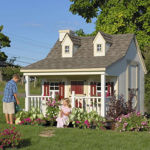 Little Cottage Company 11 ft. x 8 ft. Pennfield Cottage Wood Playhouse DIY Kit New