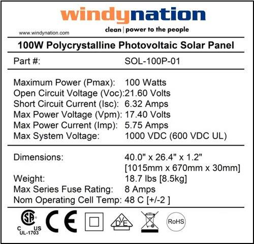 WindyNation SOK-200WP-P30L 200 Watt Solar Panel Kit With LCD Charge Controller New