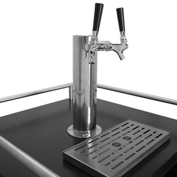 "EdgeStar KC7000BLTWIN Kegerator Over-sized Twin Tap 24"" Built-In Beer Keg Dispenser with Electronic Control Panel Black New"