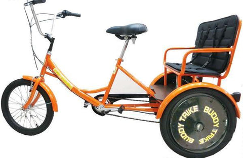 "Belize Bike 96603 Tri-rider Buddy Trike 20"" 6 Speed 2 Passenger Adaptive Tricycle Orange New"