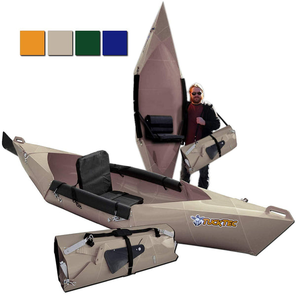 Tucktec Advanced 2020 Model 10 Ft Foldable Kayak Portable Lightweight Canoe Taupe New