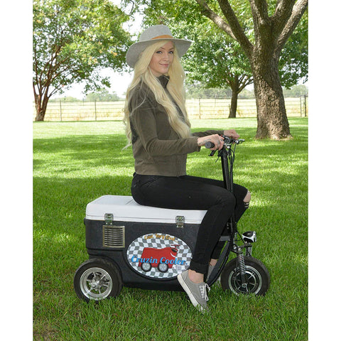 Cruzin Cooler CZHBBLACK Sport 500W 48V 3 Speed Motorized Ice Chest Scooter Black New