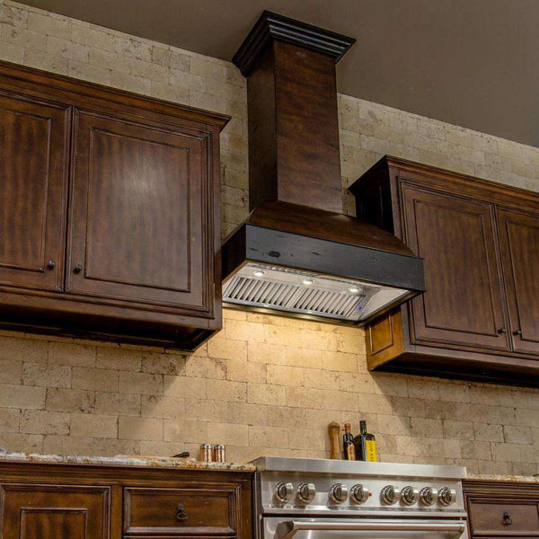 ZLINE 36 in. Wooden Wall Mount Range Hood in Antigua and Walnut - Includes 900 CFM Remote Motor (369AW-RS-36)