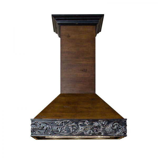 ZLINE 36 in. Wooden Wall Mount Range Hood in Antigua and Walnut - Includes 1200 CFM Motor (373AR-36)