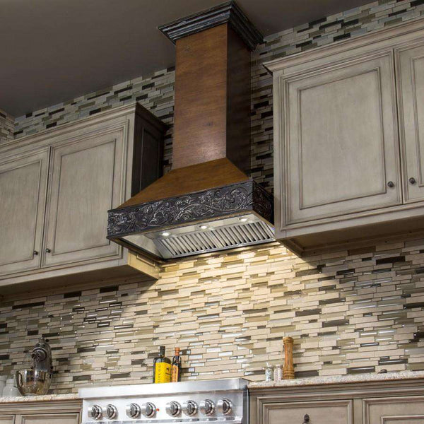 ZLINE 48 in. Wooden Wall Mount Range Hood in Antigua and Walnut - Includes 900 CFM Remote Motor (373AR-RS-48)