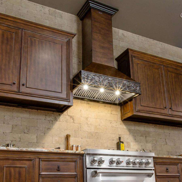 ZLINE 30 in. Wooden Wall Mount Range Hood in Antigua and Walnut - Includes 900 CFM Motor (373AW-30)