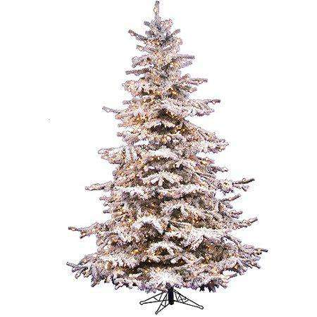 Vickerman A861876 Flocked Sierra Fir 7.5Ft X 57 Inches Pre-Lit Artificial Christmas Tree Full 750 White Clear Lights Stand Included New