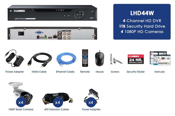Lorex LHD44W HD 1080P 4 Camera 4 Channel Weatherproof DVR Surveillance Security System New