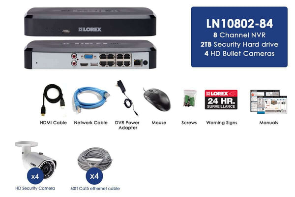 Lorex LN10802-84W 4 Camera 8 Channel NVR 2K IP Indoor/Outdoor Surveillance Security System New