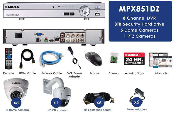 Lorex MPX851DZW 6 Camera 8 Channel Indoor/Outdoor DVR Surveillance Security System New