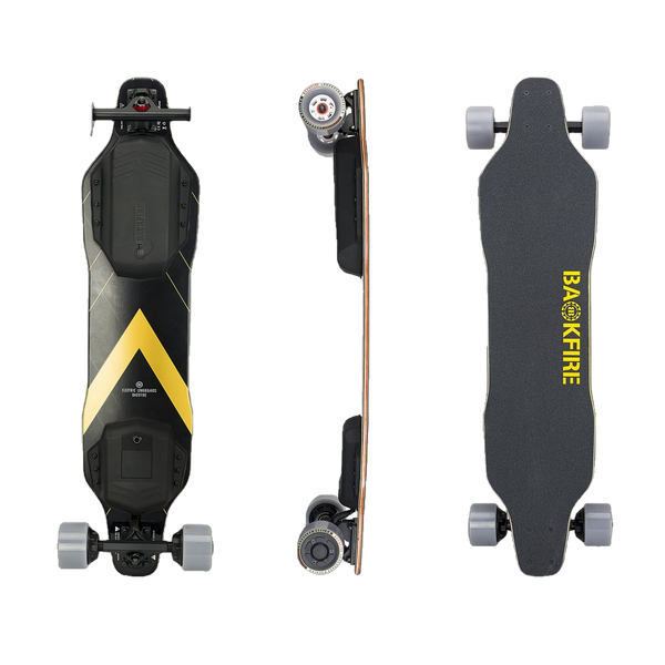 Backfire G2T Super Power Hobbywing Motors 36V 5.0Ah Electric Skateboard Black and Gold New