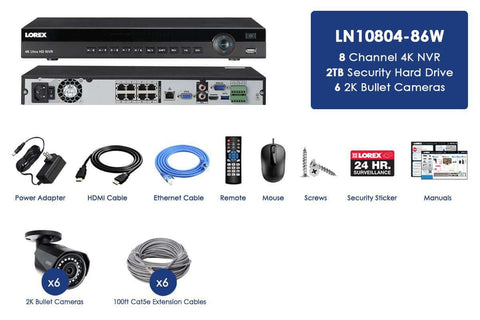 Lorex LN10804-86W  6 Camera 8 Channel HD Weatherproof Surveillance Surveillance Security System New
