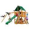 Gorilla Playsets 01-0003-AP-2 Chateau Amber Posts Swing Set and Residential Wood Playset with Sunbrella Canvas Forest Green Canopy New