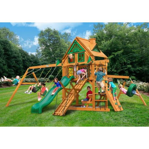 Gorilla Playsets 01-0052-AP Frontier Treehouse with Amber Posts Swing Set and Residential Wood Playset New