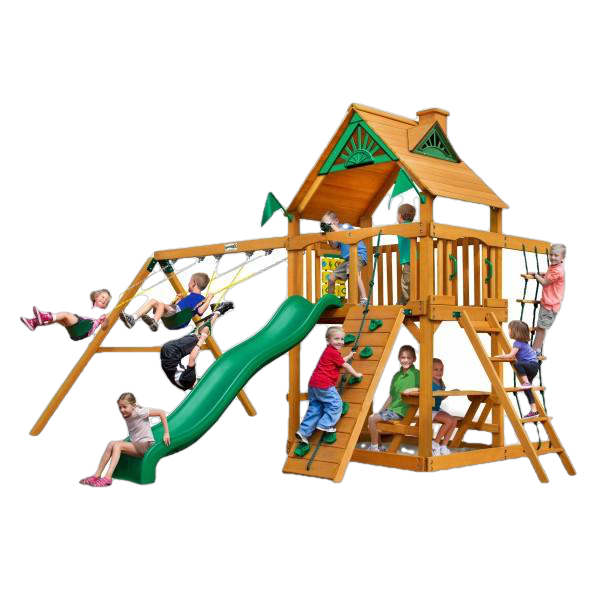 Gorilla Playsets 01-0003-AP Chateau Amber Posts Swing Set and Residential Wood Playset with Standard Wood Roof New