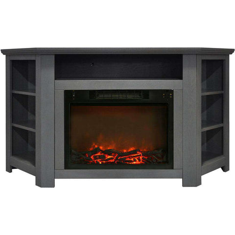 Cambridge CAM5630-1GRY Stratford 56 Inch Corner Fireplace Gray New