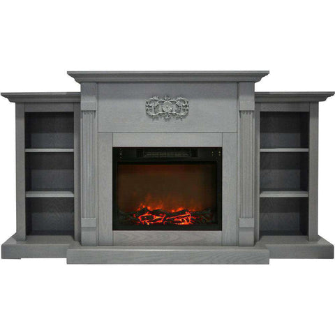 Cambridge CAM7233-1GRY Sanoma 72 Inch Built-in Bookshelves and an Enhanced Log Display Gray New