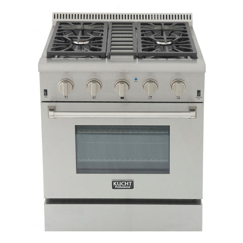 Kutch KRG3080U-S Pro-Style 30 in. 4.2 cu. ft. Natural Gas Range with Sealed Burners and Convection Oven in Stainless Steel New