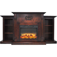 Cambridge CAM7233-1MAH Sanoma 72 Inch Built-in Bookshelves and an Enhanced Log Display Mahogany New