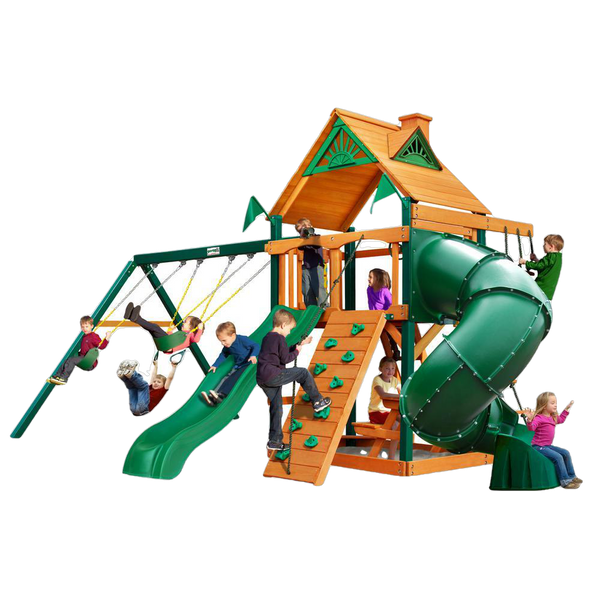 Gorilla Playsets 01-0005-AP Mountaineer Amber Posts Swing Set and Residential Wood Playset with Standard Wood Roof New