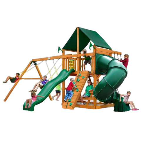 Gorilla Playsets 01-0005-AP-2 Mountaineer Amber Posts Swing Set and Residential Wood Playset with Sunbrella Canvas Forest Green Canopy New