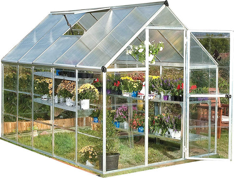 Palram HG5510 Hybrid 6 ft. W x 10 ft. D Greenhouse Grey New