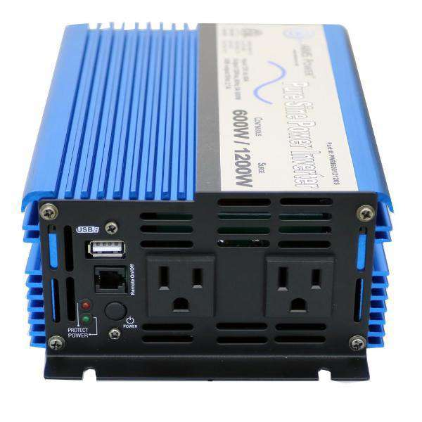 Aims Power PWRI60012120S 600 Watt Pure Sine Power Inverter w/ USB Port ETL Listed New