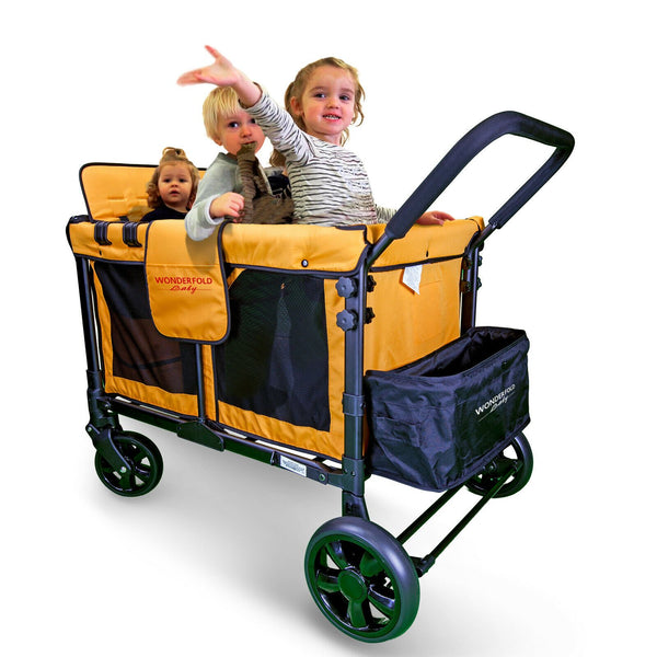 WonderFold Baby W4 Multi-Function Folding Quad Stroller Wagon with Removable Canopy and Seats Orange New