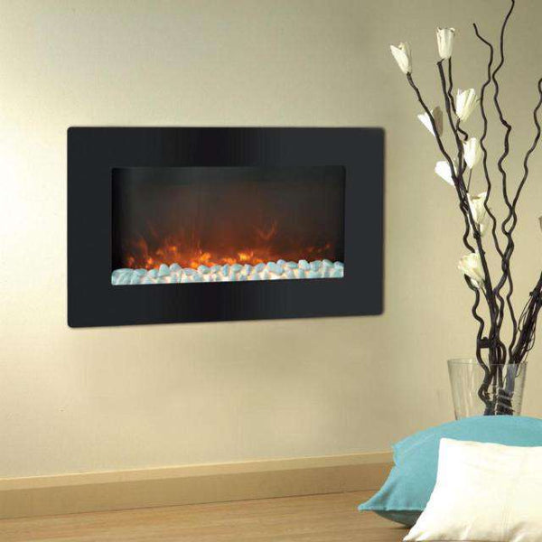 Cambridge CAM30WMEF-1BLK Callisto 30 Inch Wall-Mount with Flat Panel and Crystal Rocks Black New