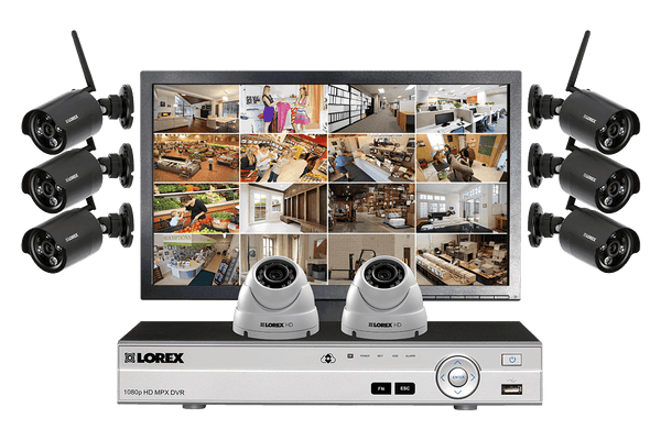 LW1662MDW HD 6 Wireless Cameras 2 Wired Cameras 16 Channel DVR and Monitor Indoor/Outdoor Surveillance Security System New
