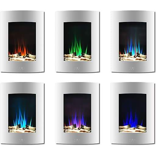 Cambridge CAM19VWMEF-1WHT 19.5 Inch Vertical Multi-Color Flame and Driftwood Log Display White New