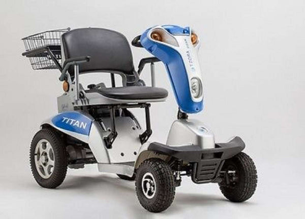 Tzora Titan Hummer XL 4 Wheel Heavy Duty Folding All Terrain Mobility Scooter Blue New