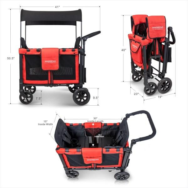 WonderFold Baby W2 Multi-Function Folding Double Stroller Wagon with Removable Canopy and Seats Red New