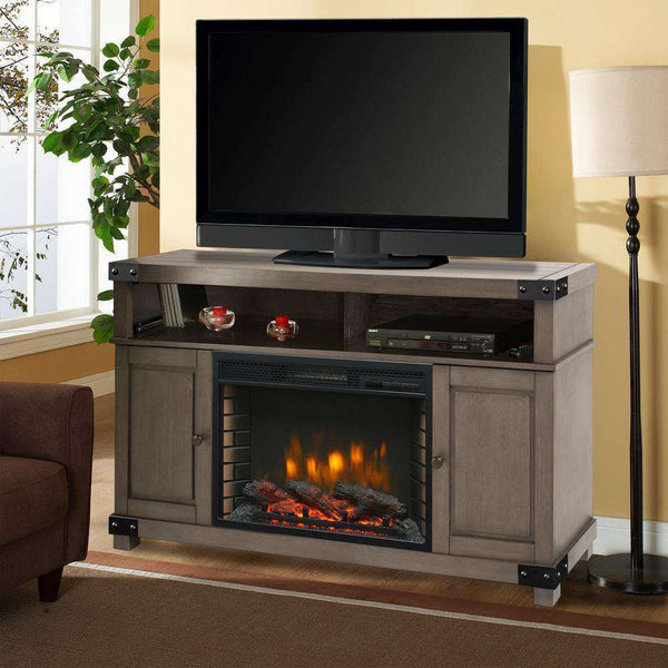 Muskoka by Pleasant Hearth 370-161-99 Hudson 53 Inch Electric Fireplace Media Console in Dark Weathered Grey New