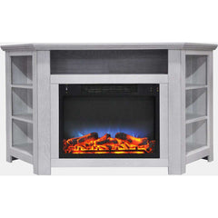 Cambridge CAM5630-1WHTLED Stratford 56 Inch Corner Fireplace with LED Multi-Color Display White New